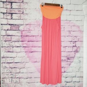 COVETED CLOTHING COLOR BLOCK STRAPLESS MAXI DRESS
